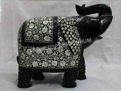 16 Black Marble Elephant Statue Mother Of Pearl Inlay Stone Hallway Decor E1325