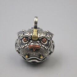 S925 Sterling Silver Pixiu Loving Tiger Bell Ringing Pendant Evil Exorcism Lucky