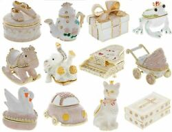Trinket Box Pillbox Collection Lot Of 12 Bejeweled Hinged Boxes Mint Condition A