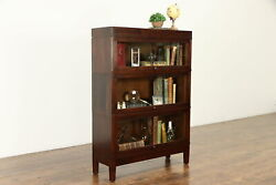 Walnut Antique 3 Stack Lawyer Office Or Library Bookcase, Signed Globe 35414