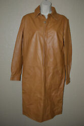 Nwt 4990 Sz 8 Collection Brown Lamb Leather Long Sleeve Dress