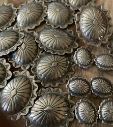 Vintage Sterling Navajo Belt Conchos And Button Covers