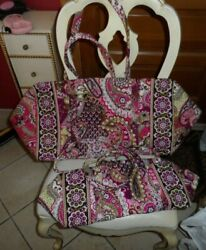 Vera Bradley Large And Small Duffel Bag Set In Very Berry Paisley Pattern