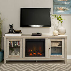 Modern Electric Media Console Fireplace Tv Stand For Tvs Up To 64 White Oak