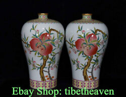 12.4 Marked Old Chinese Famille Rose Porcelain Palace Peach Flower Bottle Pair