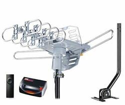 Pbd Wa-2608 Digital Amplified Outdoor Hd Tv Antenna With Mounting Pole And Gray