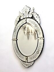 Antique Venetian Oval Wall Mirror Miroir 1930s Art Deco Handmade Engraved Etched