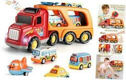 Carrier Truck Transport Car Play Vehicles Toys - 5 In 1 Friction Power Set W/