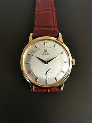 Vintage Omega Automatic 18k Yellow Gold Two Tone Dial Cal. 491 Wristwatch