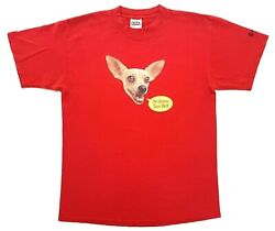 Vintage Yo Quiero Taco Bell Chihuahua Dog Tee Red Size L Distressed T-shirt 1998