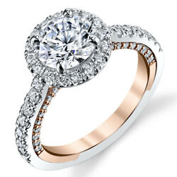 1.40 Ct Certified Real Diamond Engagement Ring 14k Solid Multi-tone Gold Rings