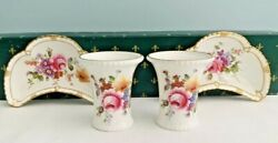 Royal Crown Derby Posies Misc. Lot 4 Piece Cresent Dishes Tray Toothpick Holders