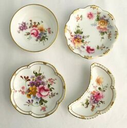 Royal Crown Derby Posies Misc. Lot 4 Piece Crescent Tray Candy Nut Pin Dishes