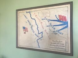 Very Rare - Special Map Showing Contact Between Gen. Hodgesand039 First U.s. Army...