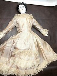 Antique China Doll C.1860 With China Arms And Feet, And Clothing, All Original.