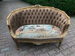 French Sofa In Louis Xvi Style In Tufted Velvet And Gobelin - Worldwide Shipping