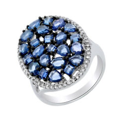 Sapphire And Diamond Cluster Band Ring 14k White Gold