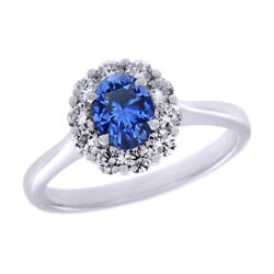 Sapphire And Diamond Halo Engagement Band Ring 14k White Gold