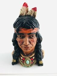 Vintage 1966 Bookend Indian Chief Bust Universal Statuary Corp Chicago 320