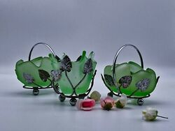 3 Art Deco Small Bagley Frosted Green Glass And Chrome Posy Vases