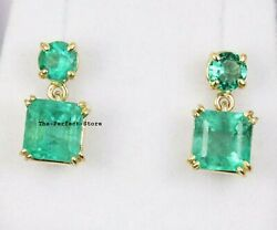 Natural Emerald 18k Solid Gold Wedding Earrings Jewelry