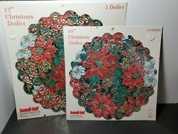 Vintage Christmas Paper Doilies Red Poinsettia Handi-foil 2 Pks 12 And 10 New