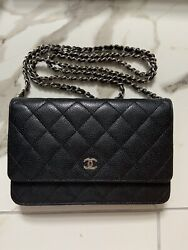 CHANEL BLACK CAVIAR WALLET ON CHAIN SILVER HARDWARE **GREAT** $2350.00