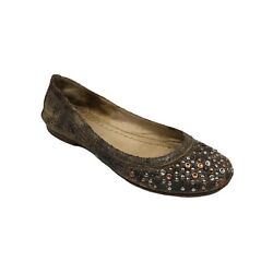 Frye Carson Brown Gold Studded Womens Distressed Leather Ballet Flat Size 7.5m