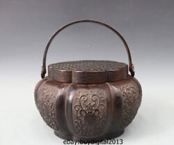 12 Chinese Ancient Pure Copper Handwork Eight Treasures Portable Heating Censer