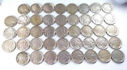 40-1913 Buffalo Nickels Type Onenice Dates And Horns Full Roll Bcs/r1/bn