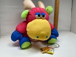 Vintage Prestige Toy Moose Plush Neon Retro Squeaker 1990 With Tags Polyester