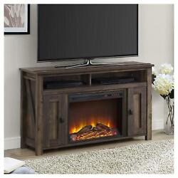 Rustic Farmhouse Tv Media Console Cabinet With Electric Fireplace Tvs Up To 50
