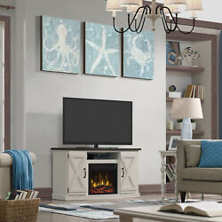 Farmhouse Tv Stand Media Console With Electric Fireplace For Tvs Up To 55 Cream