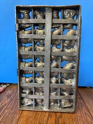 Antique Tin Chocolate Candy Mold 24 Easter Chicken ,chicks And Bunnys