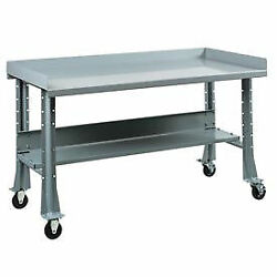 Shureshopand174 Mobile Bench W/acc Kit Painted Steel Top 72x29 Sebring Grey