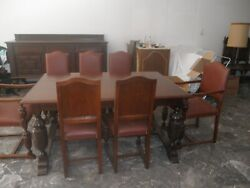 Antique Dining Room Set - Table, Chairs 8, Cupboard Buffet
