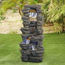 Outdoor Water Fountain Tiered Waterfall Led Decor 40 Inch Pump Included New
