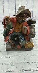 Vintage Man Hobo on a Bench Holding a Bottle WOOD ART HANDPAINTED $49.50