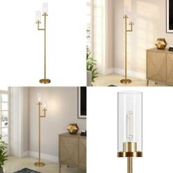 Basso Brass Floor Lamp Clear Glass Shades
