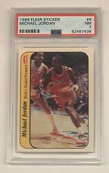 1986 Fleer Sticker #8 Michael Jordan Rookie PSA 7 $2250.00