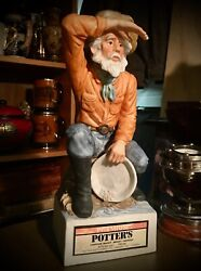 Ceramic Gold Panner Figure 11 Inch Tall Potter's Canadian Whisky Whiskey Bottle