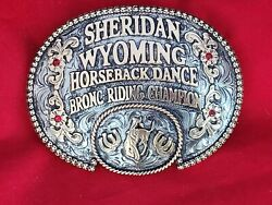 Rodeo Trophy Buckle☆☆sheridan Wyoming Bronc Riding Champion Vintage 665