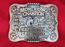Rodeo Trophy Buckle☆2007☆fort Worth Texas Sr. Bronc Riding Champion Vintage 110