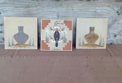3 Signed And Dated Native Sand Art Paintings