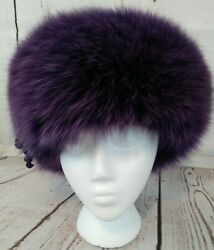 Vintage Purple Fur And Leather Hat By Chapeau Creations Ruth Kropveld Womens