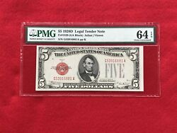 Fr-1529 Key Note 1928 D Series 5 Red Seal Us Legal Tender Note Pmg 64 Epq