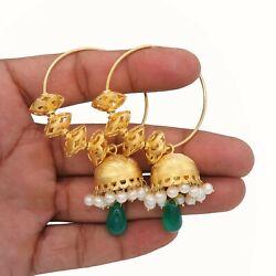 Handmade Gold Plated Emerald And Pearl 925 Solid Sterling Silver Hoop Earrings