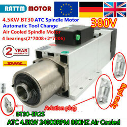 【eu】 4.5kw 380v Bt30 Automatic Tool Changer Atc Air Spindle Motor 24000rpm 800hz