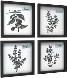 ArtbyHannah 4Pack 12x12 Black Picture Frame Kitchen Wall Art Decor for Dining Ro