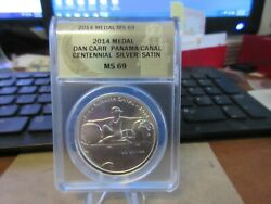 2014 Panama Canal Centennial Medal By Daniel Carr Silver Anacs Ms 69